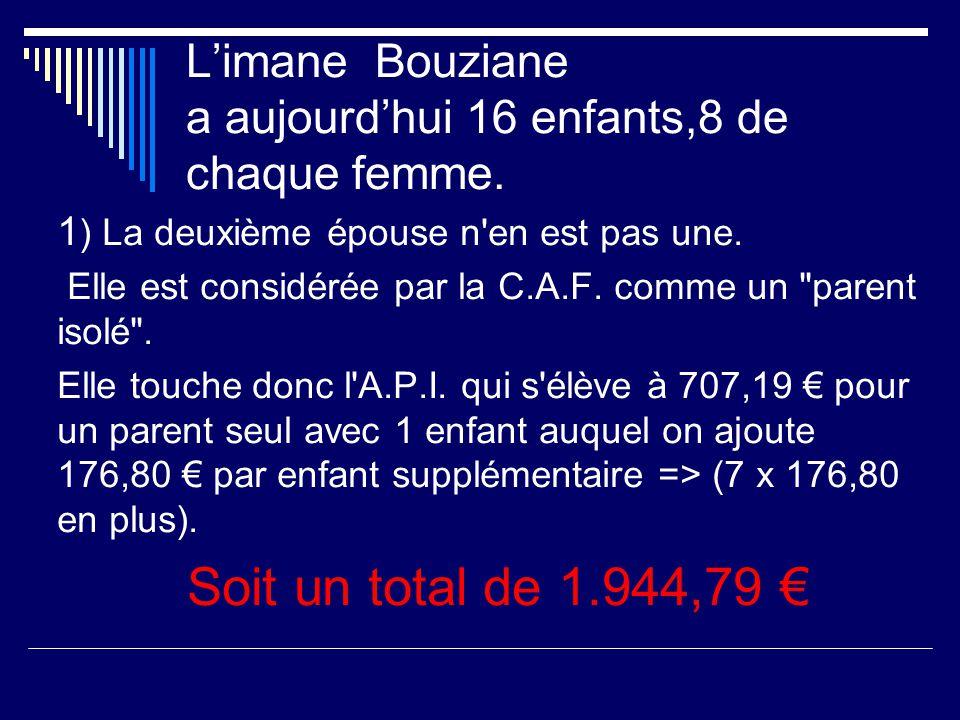 l'imane Bouziane polygame a : D éclaré en 1993 à la Préfecture sa seconde épouse. La Préfecture a accepté que sa deuxième femme le rejoigne en France