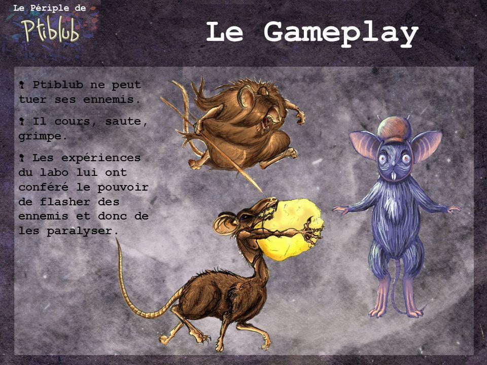 Le Gameplay Ptiblub ne peut tuer ses ennemis.Il cours, saute, grimpe.
