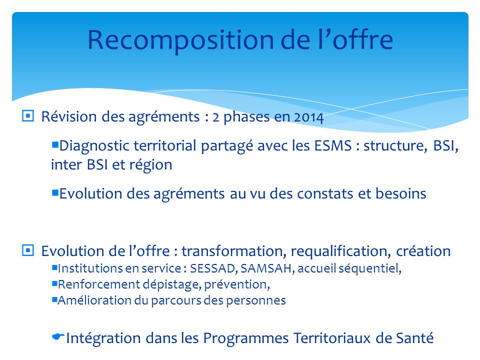 Recomposition de l'offre  Révision des agréments : 2 phases en 2014  Diagnostic territorial partagé avec les ESMS : structure, BSI, inter BSI et rég