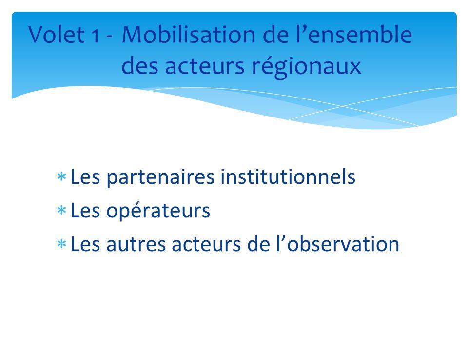  Les partenaires institutionnels  Les opérateurs  Les autres acteurs de l'observation Volet 1 - Mobilisation de l'ensemble des acteurs régionaux