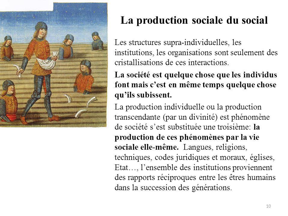 La production sociale du social • Les structures supra-individuelles, les institutions, les organisations sont seulement des cristallisations de ces i