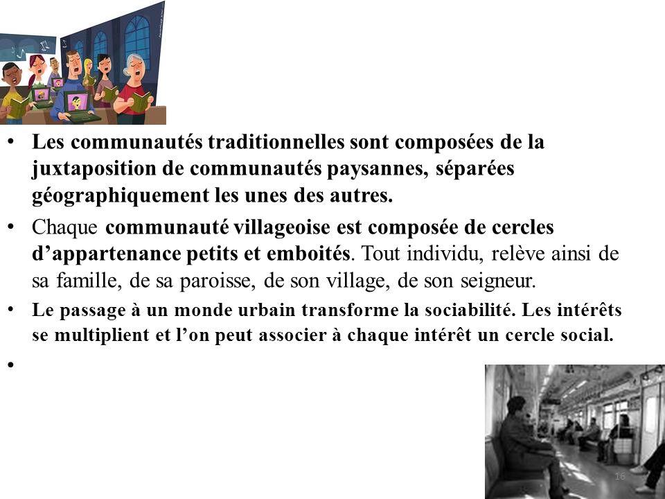 • Les communautés traditionnelles sont composées de la juxtaposition de communautés paysannes, séparées géographiquement les unes des autres. • Chaque