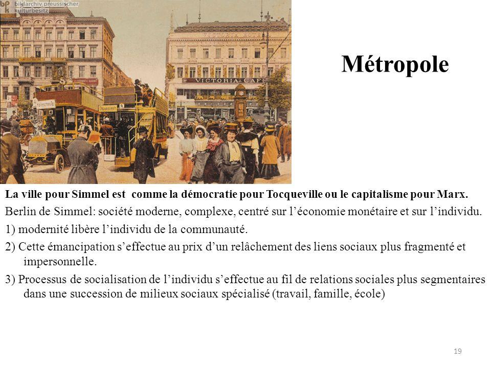 Métropole La ville pour Simmel est comme la démocratie pour Tocqueville ou le capitalisme pour Marx. Berlin de Simmel: société moderne, complexe, cent