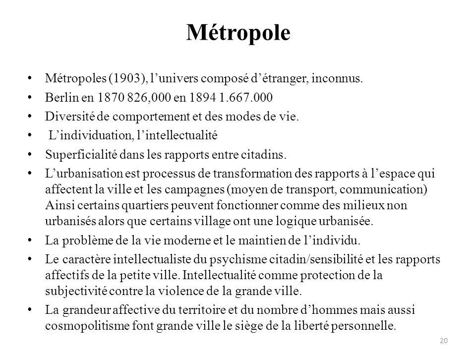 Métropole • Métropoles (1903), l'univers composé d'étranger, inconnus. • Berlin en 1870 826,000 en 1894 1.667.000 • Diversité de comportement et des m