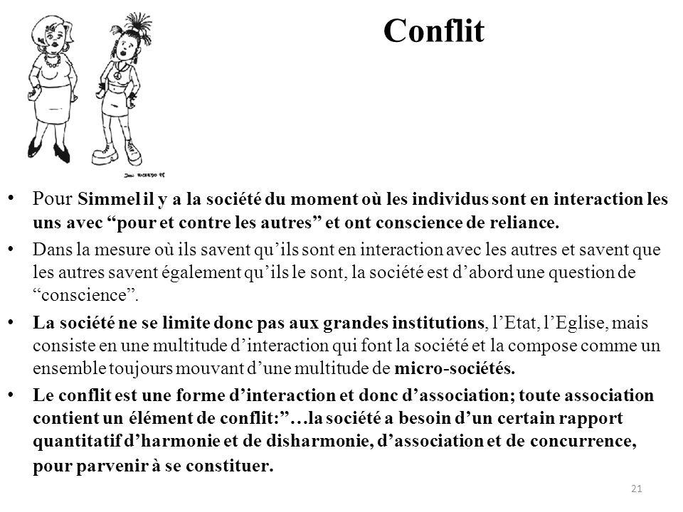 """Conflit • Pour Simmel il y a la société du moment où les individus sont en interaction les uns avec """"pour et contre les autres"""" et ont conscience de r"""