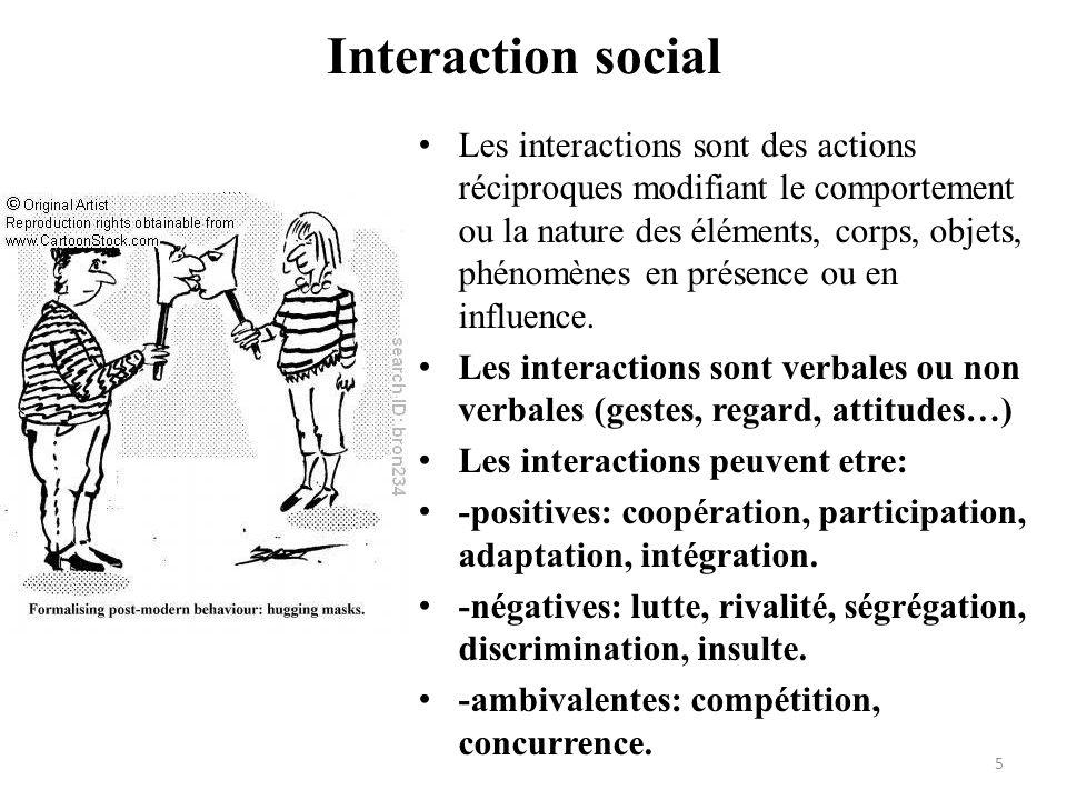 Interaction social • Les interactions sont des actions réciproques modifiant le comportement ou la nature des éléments, corps, objets, phénomènes en p