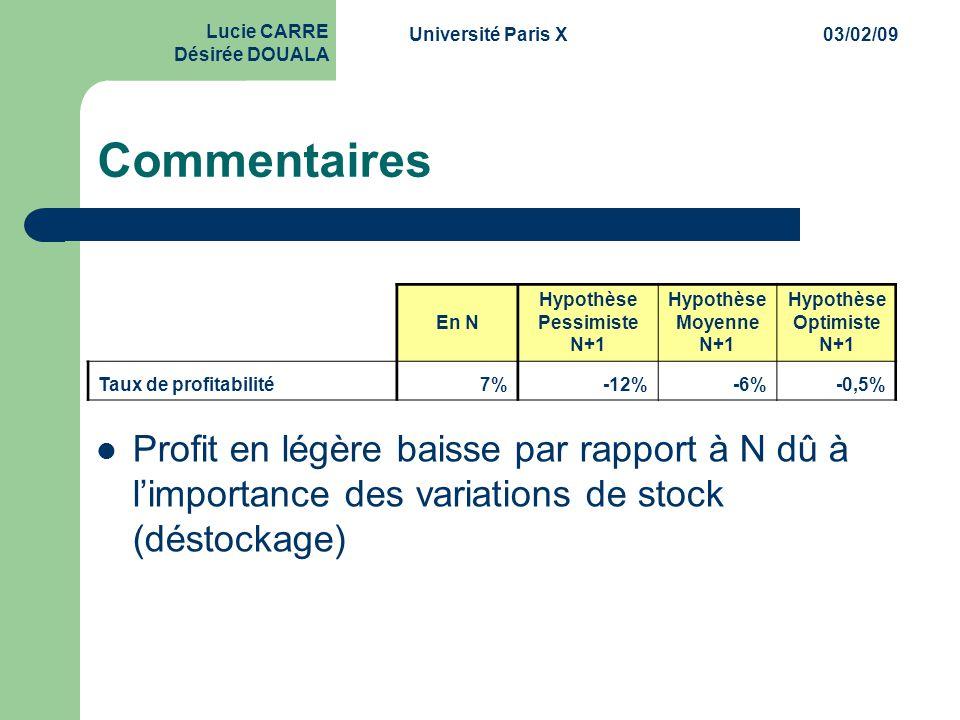 Université Paris X03/02/09 Lucie CARRE Désirée DOUALA Commentaires  Profit en légère baisse par rapport à N dû à l'importance des variations de stock