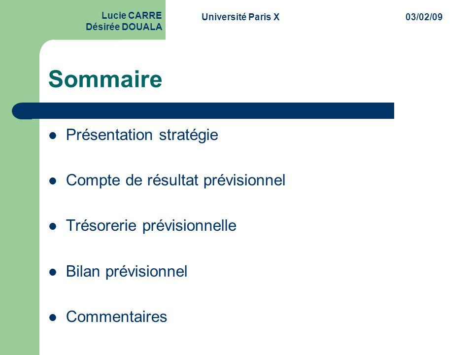 Université Paris X03/02/09 Lucie CARRE Désirée DOUALA Sommaire  Présentation stratégie  Compte de résultat prévisionnel  Trésorerie prévisionnelle