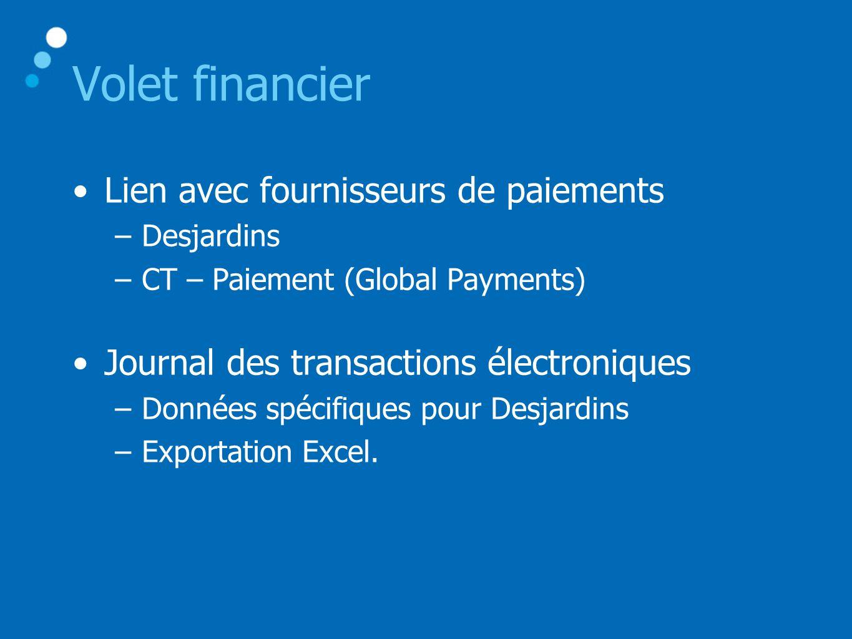 Volet financier •Lien avec fournisseurs de paiements –Desjardins –CT – Paiement (Global Payments) •Journal des transactions électroniques –Données spécifiques pour Desjardins –Exportation Excel.