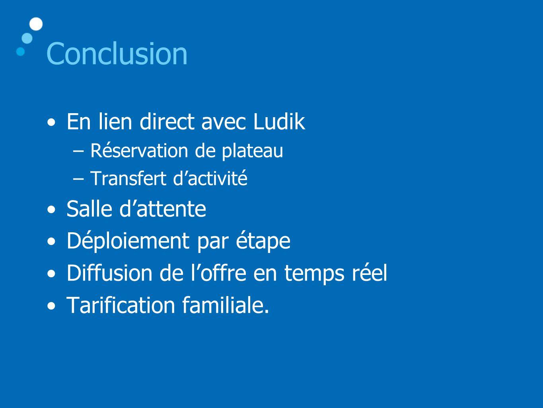 Conclusion •En lien direct avec Ludik –Réservation de plateau –Transfert d'activité •Salle d'attente •Déploiement par étape •Diffusion de l'offre en temps réel •Tarification familiale.