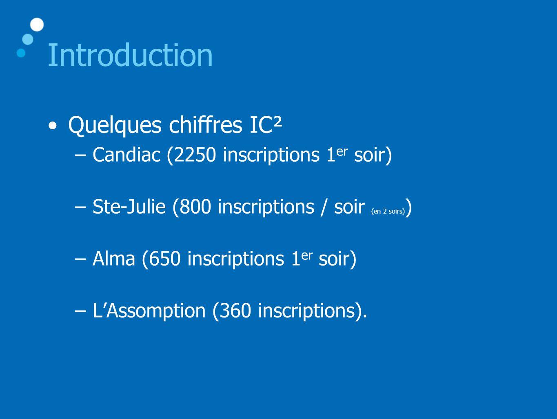 Introduction •Quelques chiffres IC² –Candiac (2250 inscriptions 1 er soir) –Ste-Julie (800 inscriptions / soir (en 2 soirs) ) –Alma (650 inscriptions 1 er soir) –L'Assomption (360 inscriptions).