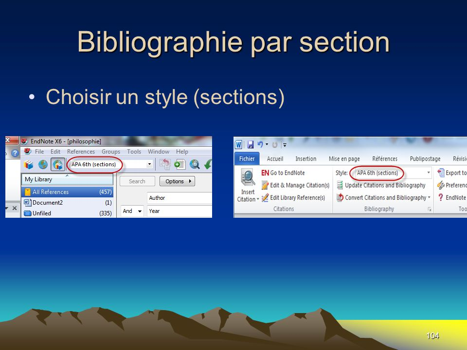 Bibliographie par section •Choisir un style (sections) 104