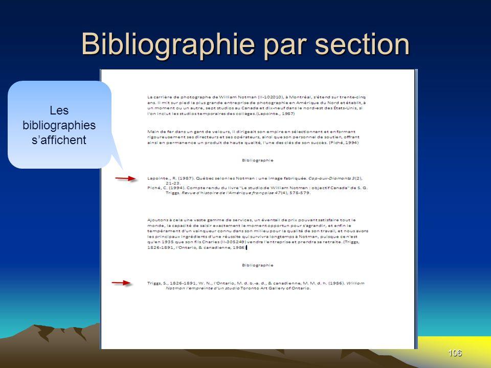 Bibliographie par section 106 Les bibliographies s'affichent