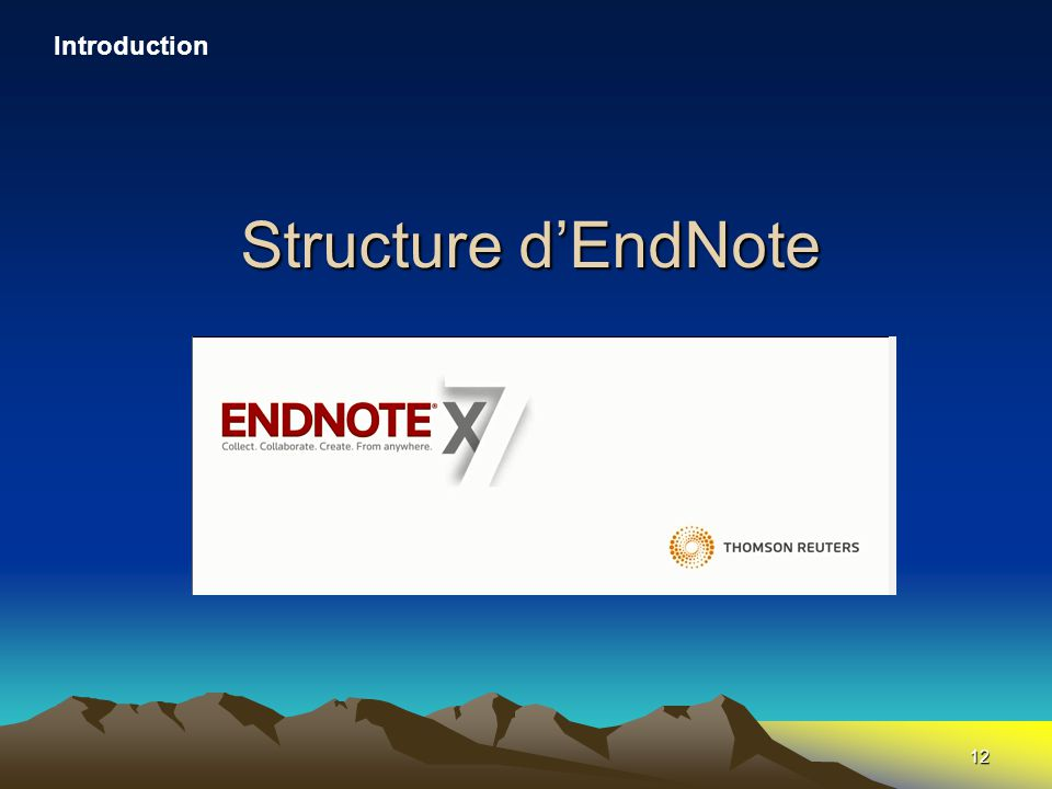 12 Structure d'EndNote Introduction