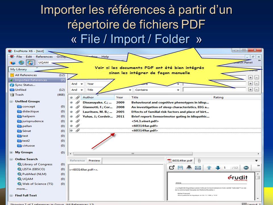 Importer les références à partir d'un répertoire de fichiers PDF « File / Import / Folder » 31