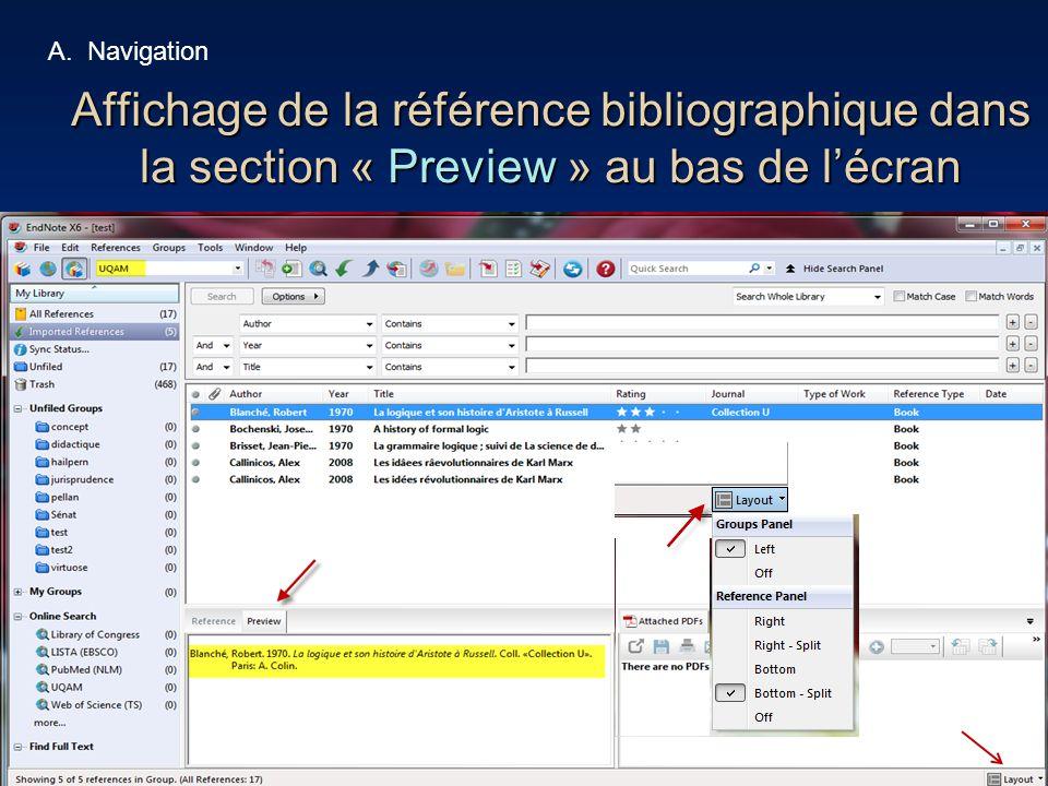 38 Affichage de la référence bibliographique dans la section « Preview » au bas de l'écran A.Navigation