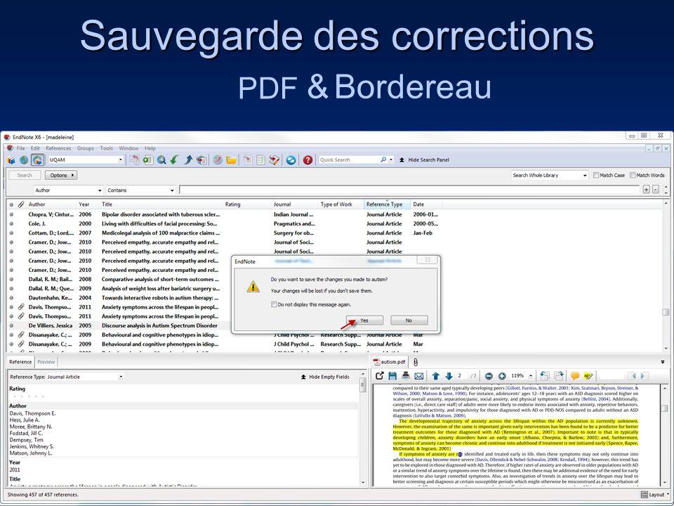 Sauvegarde des corrections 70 PDF & Bordereau