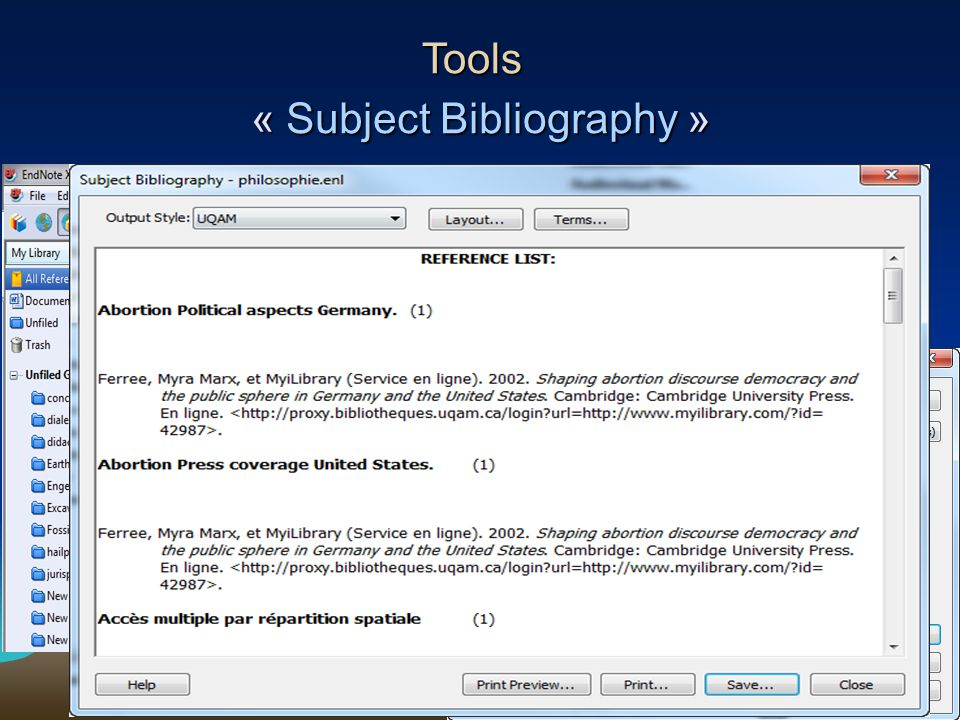 86 « Subject Bibliography » Tools Sélection du champ Keywords