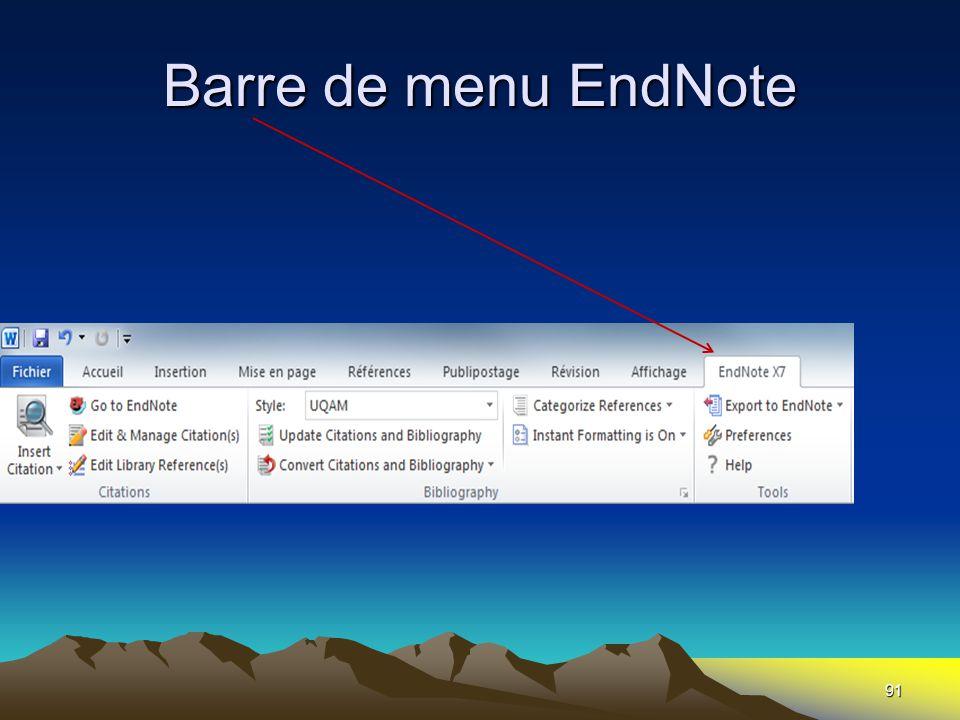 Barre de menu EndNote 91