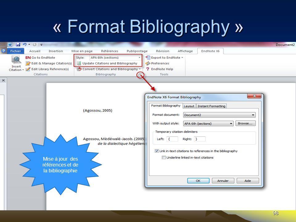 98 « Format Bibliography » Mise à jour des références et de la bibliographie
