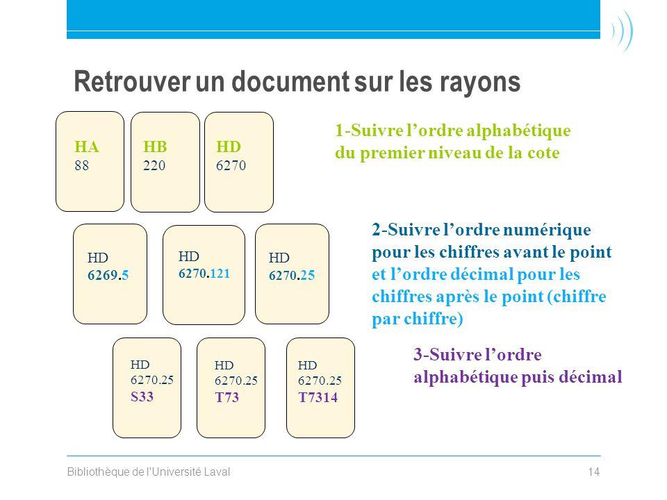 Bibliothèque de l'Université Laval14 Retrouver un document sur les rayons 1-Suivre l'ordre alphabétique du premier niveau de la cote 2-Suivre l'ordre