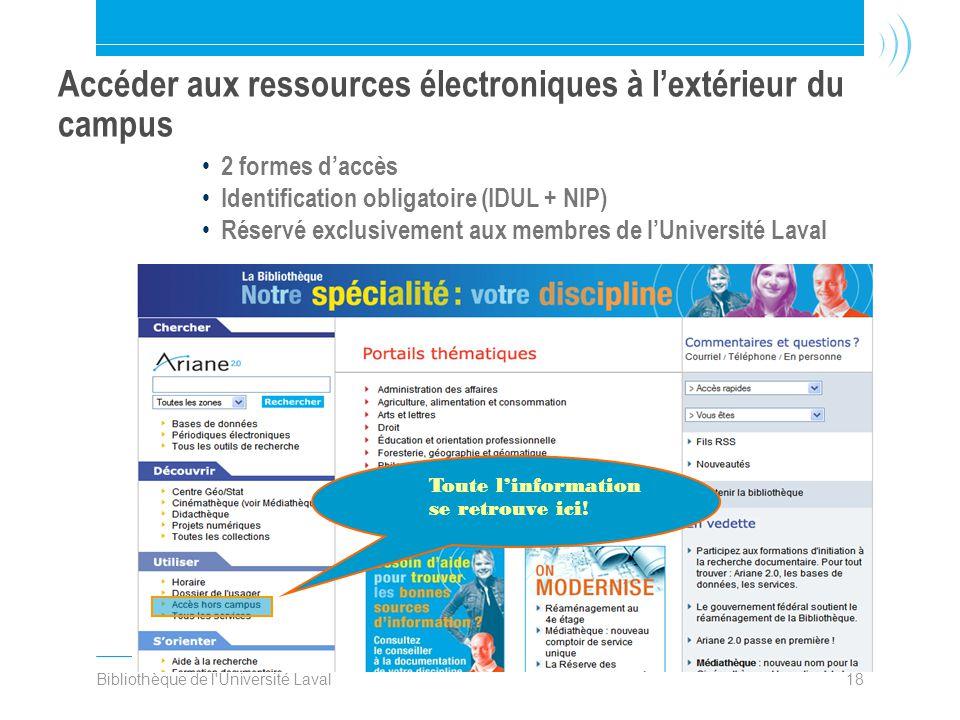 Bibliothèque de l'Université Laval18 Accéder aux ressources électroniques à l'extérieur du campus • 2 formes d'accès • Identification obligatoire (IDU