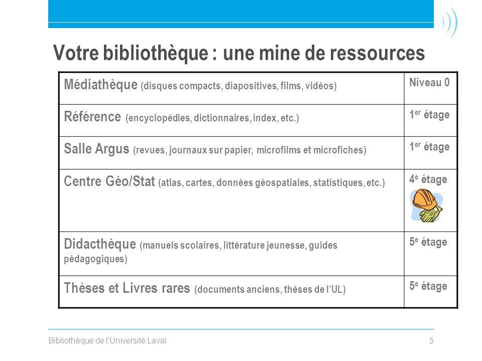 Bibliothèque de l'Université Laval5 Votre bibliothèque : une mine de ressources Médiathèque (disques compacts, diapositives, films, vidéos) Niveau 0 R