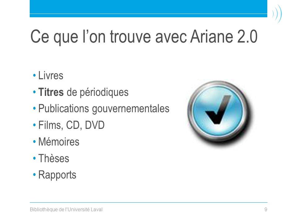 Bibliothèque de l Université Laval9 Ce que l'on trouve avec Ariane 2.0 •Livres • Titres de périodiques •Publications gouvernementales •Films, CD, DVD •Mémoires •Thèses •Rapports
