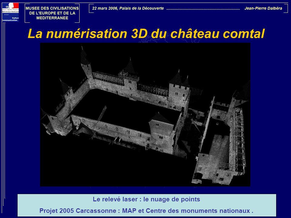 La numérisation 3D du château comtal Le relevé laser : le nuage de points Projet 2005 Carcassonne : MAP et Centre des monuments nationaux.