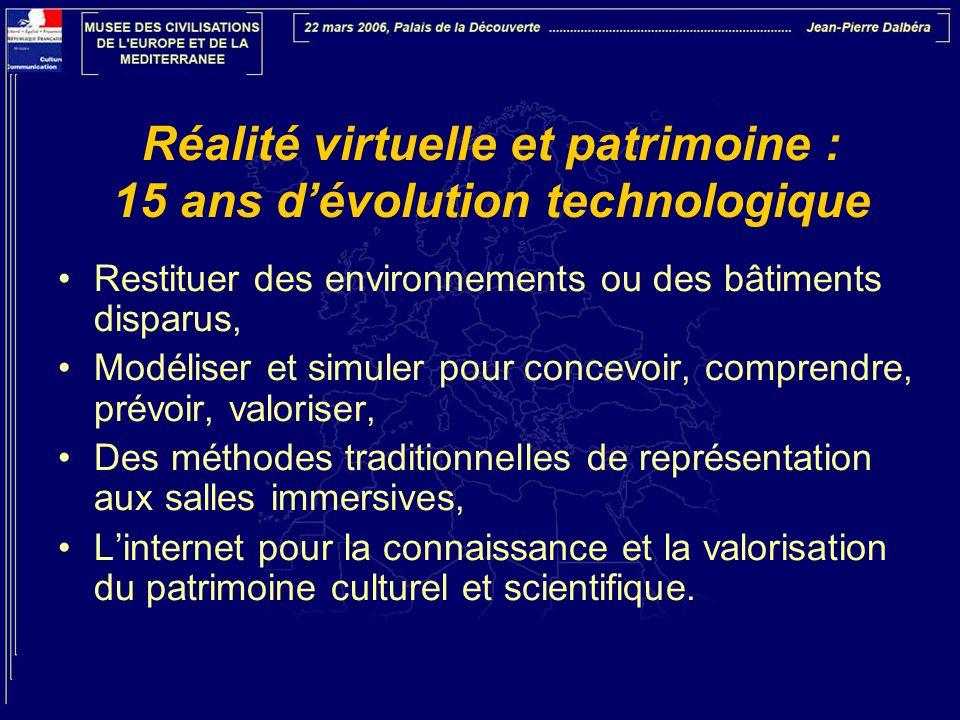 Réalité virtuelle et patrimoine : 15 ans d'évolution technologique •Restituer des environnements ou des bâtiments disparus, •Modéliser et simuler pour