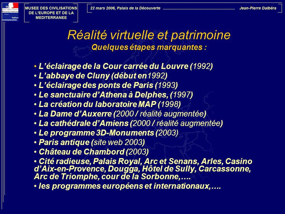 Réalité virtuelle et patrimoine Quelques étapes marquantes : • L'éclairage de la Cour carrée du Louvre (1992) • L'abbaye de Cluny (début en1992) • L'é