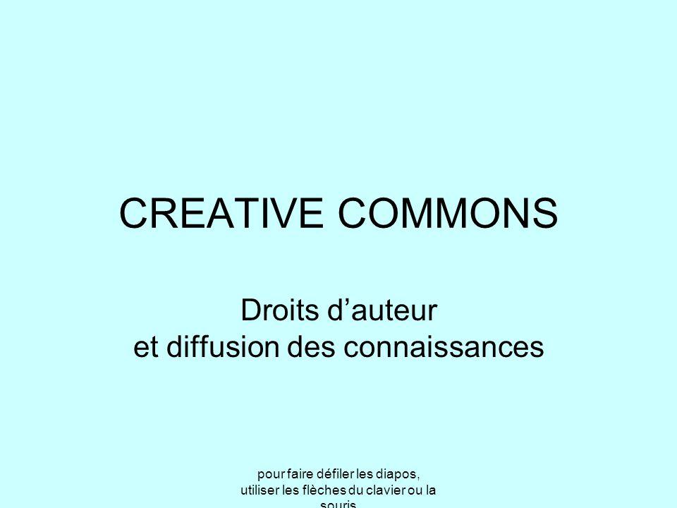 pour faire défiler les diapos, utiliser les flèches du clavier ou la souris CREATIVE COMMONS Droits d'auteur et diffusion des connaissances