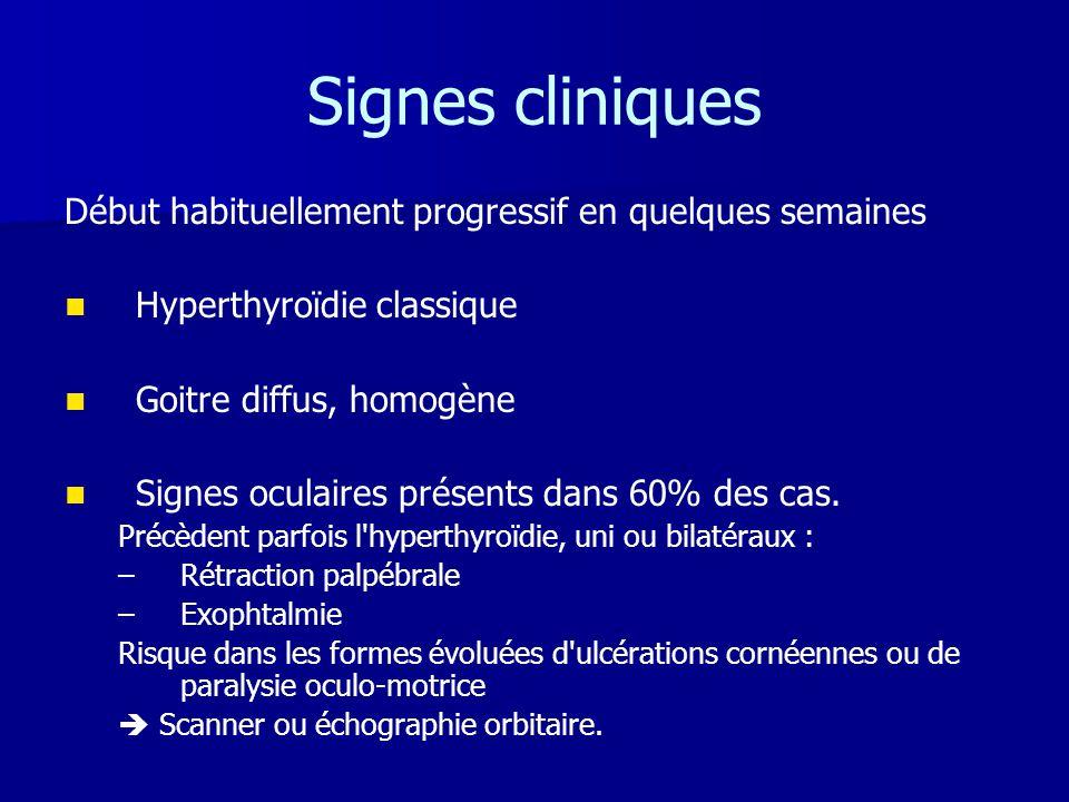 Signes cliniques Début habituellement progressif en quelques semaines   Hyperthyroïdie classique   Goitre diffus, homogène   Signes oculaires pr