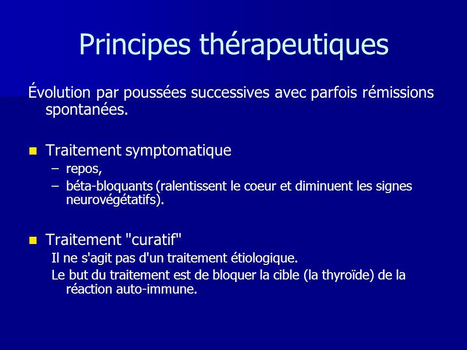 Principes thérapeutiques Évolution par poussées successives avec parfois rémissions spontanées.   Traitement symptomatique – –repos, – –béta-bloquan