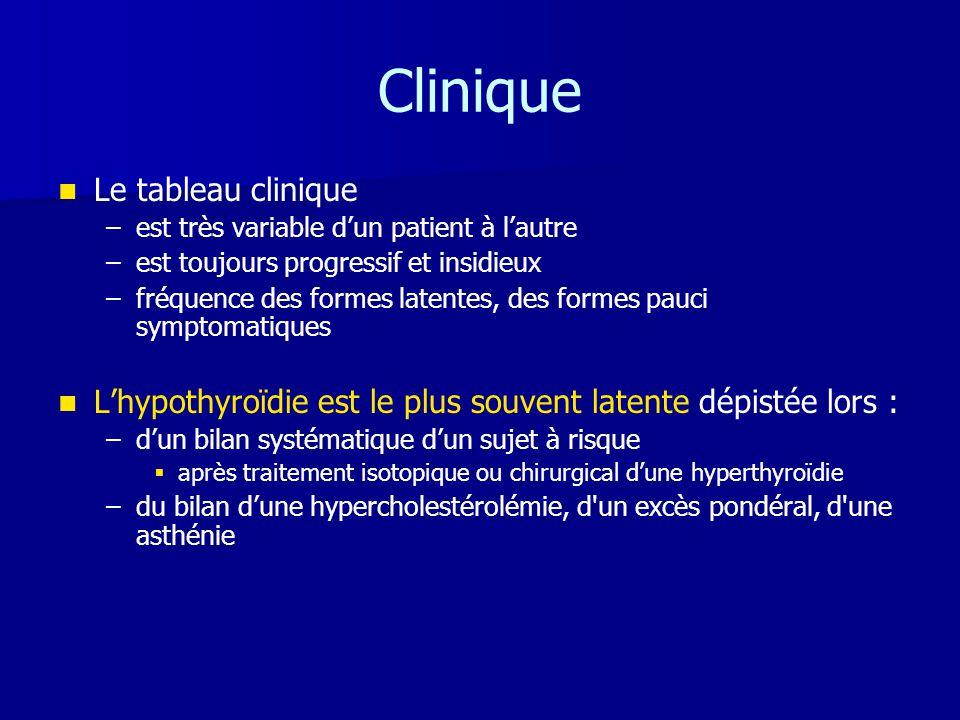 Clinique   Le tableau clinique – –est très variable d'un patient à l'autre – –est toujours progressif et insidieux – –fréquence des formes latentes,