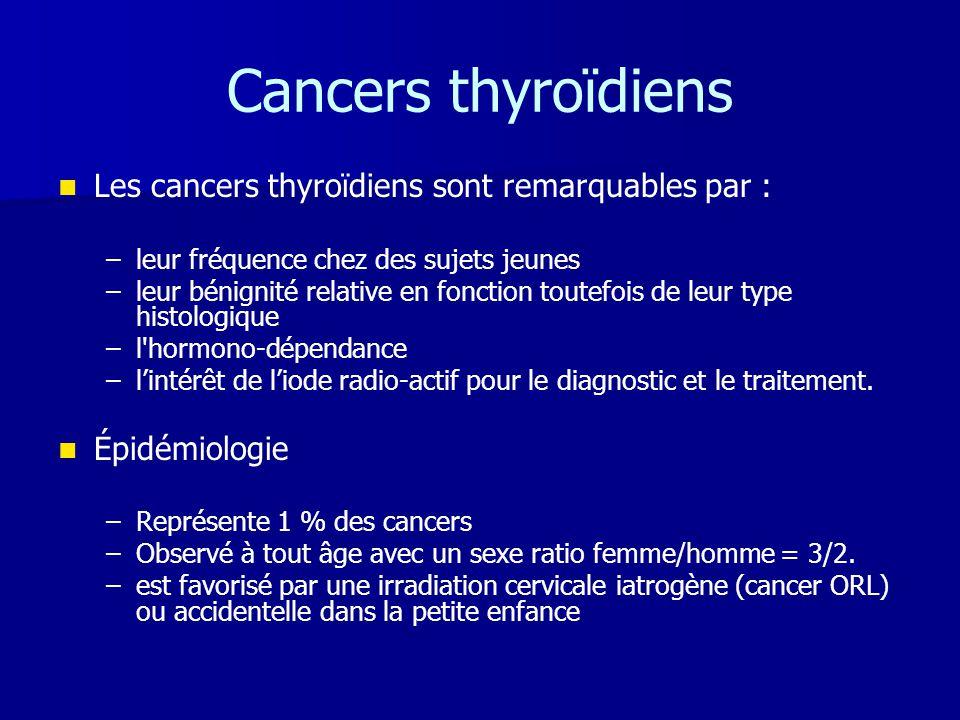 Cancers thyroïdiens   Les cancers thyroïdiens sont remarquables par : – –leur fréquence chez des sujets jeunes – –leur bénignité relative en fonctio