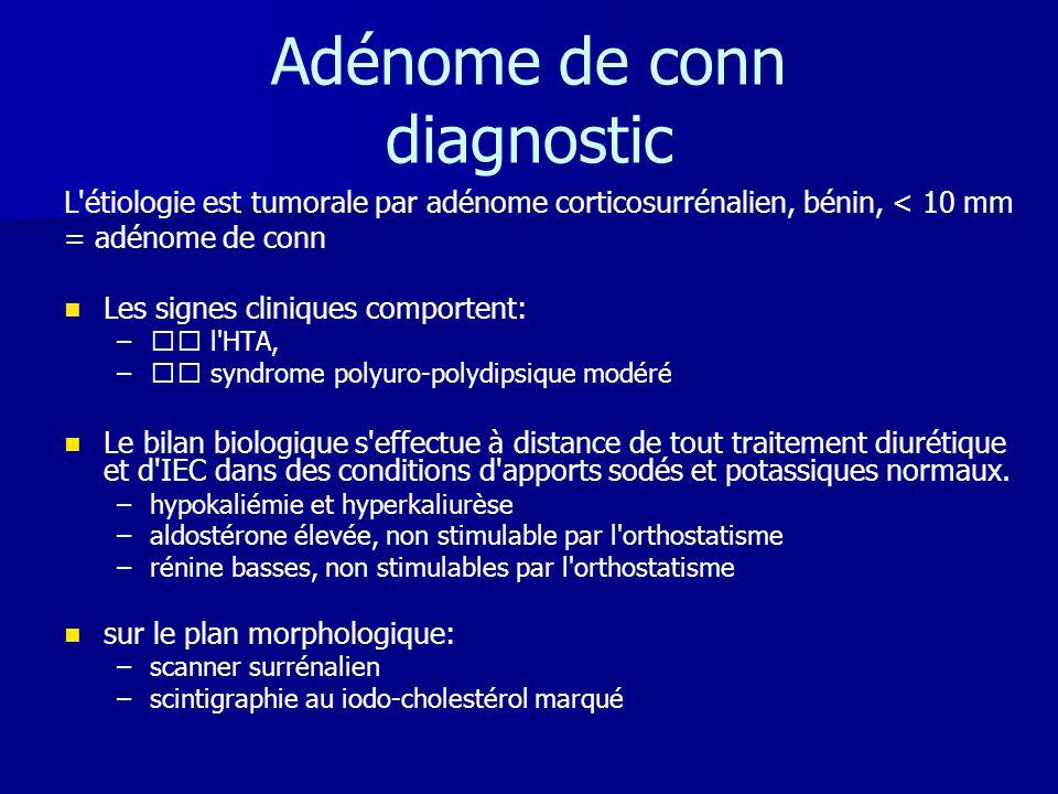 Adénome de conn diagnostic L'étiologie est tumorale par adénome corticosurrénalien, bénin, < 10 mm = adénome de conn   Les signes cliniques comporte