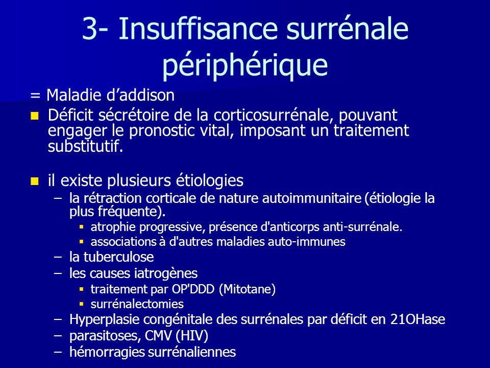 3- Insuffisance surrénale périphérique = Maladie d'addison   Déficit sécrétoire de la corticosurrénale, pouvant engager le pronostic vital, imposant
