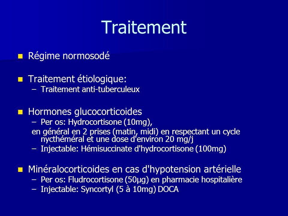 Traitement   Régime normosodé   Traitement étiologique: – –Traitement anti-tuberculeux   Hormones glucocorticoides – –Per os: Hydrocortisone (10