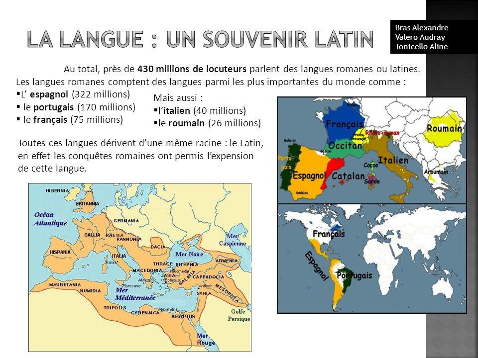Au total, près de 430 millions de locuteurs parlent des langues romanes ou latines. Les langues romanes comptent des langues parmi les plus importante