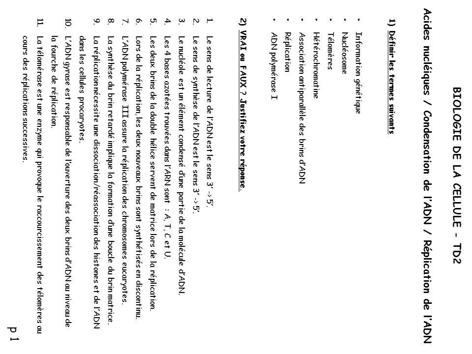 BIOLOGIE DE LA CELLULE - TD2 Acides nucléiques / Condensation de l'ADN / Réplication de l'ADN 1)Définir les termes suivants • Information génétique •