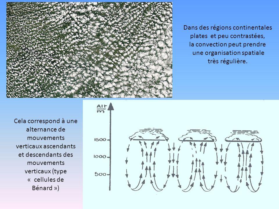 Dans des régions continentales plates et peu contrastées, la convection peut prendre une organisation spatiale très régulière. Cela correspond à une a