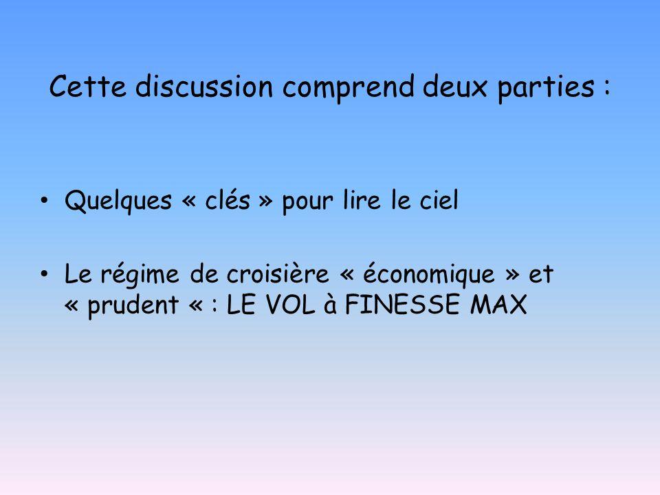 Cette discussion comprend deux parties : • Quelques « clés » pour lire le ciel • Le régime de croisière « économique » et « prudent « : LE VOL à FINESSE MAX