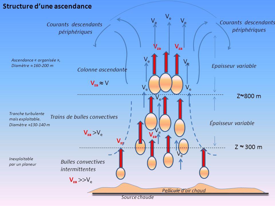 VeVe VeVe VeVe VeVe VeVe V za VeVe VeVe VeVe VeVe VeVe Z  300 m Z  800 m Bulles convectives intermittentes V za  V e Colonne ascendante V za  V T
