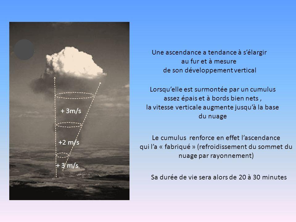 Une ascendance a tendance à s'élargir au fur et à mesure de son développement vertical Lorsqu'elle est surmontée par un cumulus assez épais et à bords bien nets, la vitesse verticale augmente jusqu'à la base du nuage Sa durée de vie sera alors de 20 à 30 minutes Le cumulus renforce en effet l'ascendance qui l'a « fabriqué » (refroidissement du sommet du nuage par rayonnement) + 3 m/s +2 m/s + 3m/s