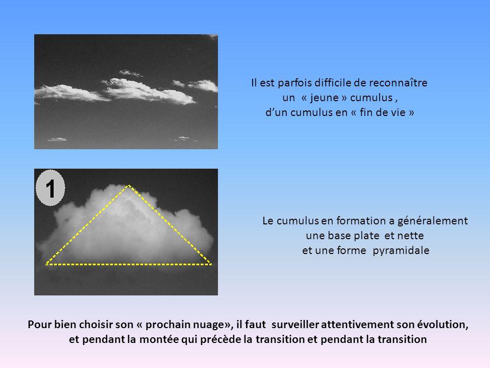 Il est parfois difficile de reconnaître un « jeune » cumulus, d'un cumulus en « fin de vie » Le cumulus en formation a généralement une base plate et nette et une forme pyramidale Pour bien choisir son « prochain nuage», il faut surveiller attentivement son évolution, et pendant la montée qui précède la transition et pendant la transition