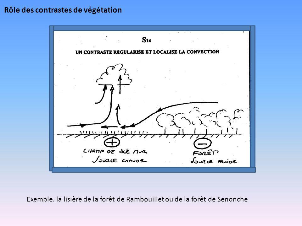 Rôle des contrastes de végétation Exemple. la lisière de la forêt de Rambouillet ou de la forêt de Senonche