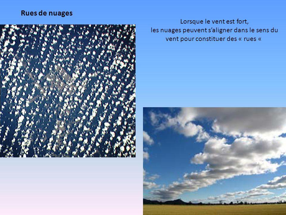 Rues de nuages Lorsque le vent est fort, les nuages peuvent s'aligner dans le sens du vent pour constituer des « rues «
