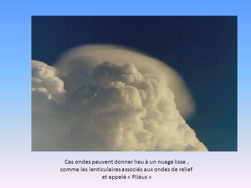 Ces ondes peuvent donner lieu à un nuage lisse, comme les lenticulaires associés aux ondes de relief et appelé « Piléus »