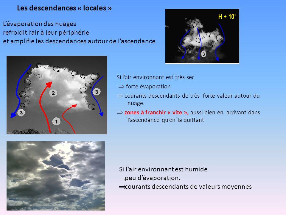 Les descendances « locales » Si l'air environnant est très sec  forte évaporation  courants descendants de très forte valeur autour du nuage.